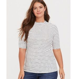 Torrid MARLED WHITE & BLACK STRIPE MOCK NECK TEE 1